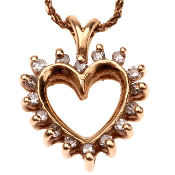 Gold diamond heart outline necklace pendant collect sell gold diamond heart outline necklace front mozeypictures Images