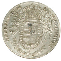 Hungarian 1 Thaler Silver Madonna Coin - Reverse Angels