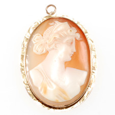 Carved Shell Cameo Brooch - Front