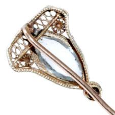 Gold Stick Pin with Aquamarine and Diamond - Head, Back