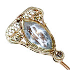 Gold Stick Pin with Aquamarine and Diamond - Head, Front