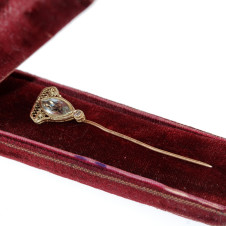 Gold Stick Pin with Aquamarine and Diamond - In Case
