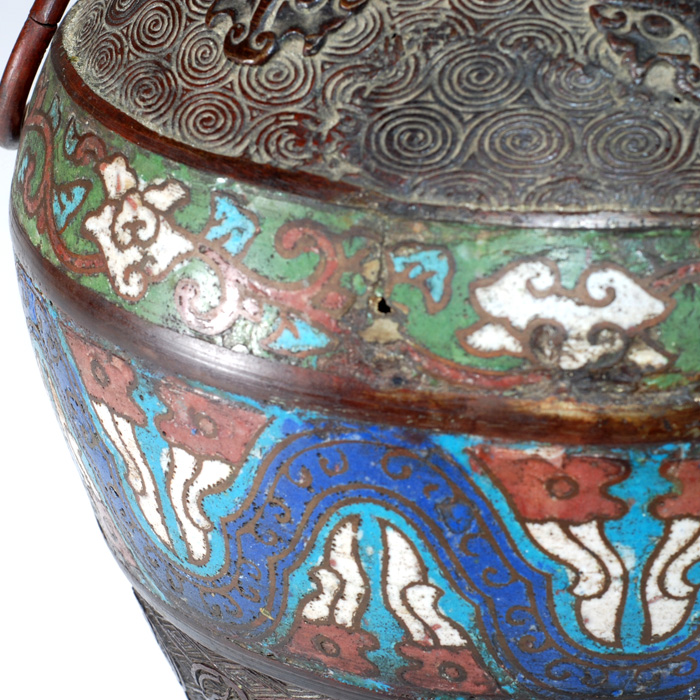 Japanese Champleve Bronze Vasese Japanese Champleve Cloisonne On