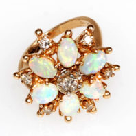 14K Ring with Opals and Diamonds